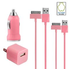 Pink Car Charger Bundle USB Data Cable + Wall « Store Break