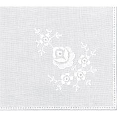 "Cotton Handkerchief 9-1/2""X9-1/2"" -Roses White"