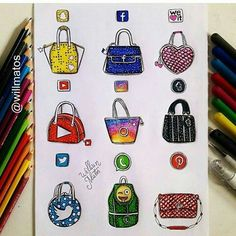 Social Media Handbags Von: Will Matos _ Folgen Sie. You are in the right place about Mandala Drawi App Drawings, Drawing Sketches, Cute Disney Drawings, Cute Drawings, Social Media Art, Fashion Design Drawings, Amazing Drawings, Medium Art, Cute Art