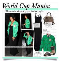 """""""World Cup MAnia:Rihanna in vibrant green football jacket"""" by kusja ❤ liked on Polyvore featuring Rihanna For River Island, Manolo Blahnik, Louis Vuitton, women's clothing, women, female, woman, misses, juniors and adidas"""