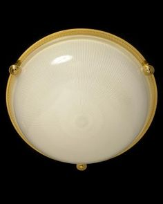 Marvin Alexander,Inc. Gilded bronze and ribbed glass flushmount, three lights