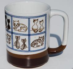 Ortagiri Coffee Mug Tri Tone Various Kitten Cat Scene Blue Square Window Japan | eBay