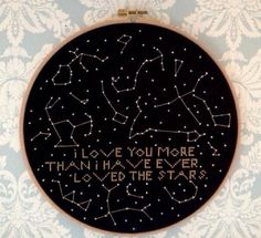 A cross stitch of the stars and constellations. Made with black Aida cloth and metallic DMC thread.