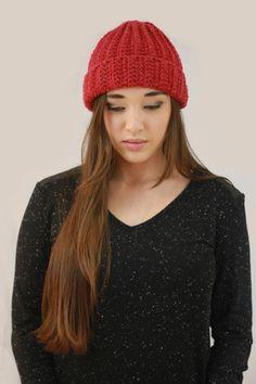 Red Ribbed Folded Ribbed Hat. Wool/Acrylic  Handmade Miyuki Crochet handmade