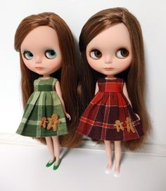 Christmas Set - Red and Green Plaid Flannel Blythe Doll Dress