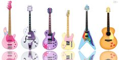 The mane six as guitars (and also a bass)