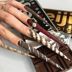 Reaching for the Valentine's Day Chocolate on sale like🍫🍫🍫 . Valentine Nail Art, Nail Pro, Chocolate, Nail Inspo, Long Nails, Magazine, Beauty, Instagram, Valentine's Day Diy