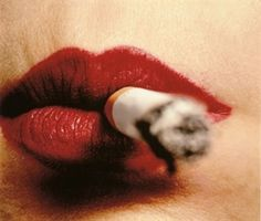 Irving Penn Red lips and cigarettes