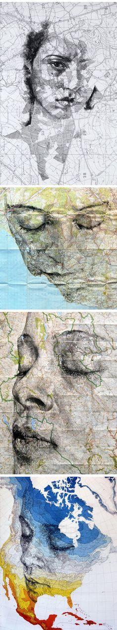 Hier is het gezicht verkreukeld en tot het beeld van een kaart verwerkt, waarschijnlijk was/is deze persoon een reiziger of hij/zij houdt van reizen.
