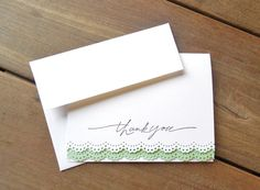 Mint Lace Card-Mint Thank You Card-Spring Wedding Thank You-Lace Thank You Card-White Lace Card-White and Mint Wedding-Mint Bridal Shower Card by Lemon Drops & Lilacs on etsy.com