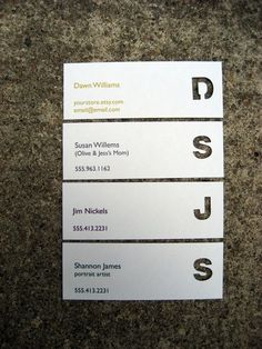 Die Cut Initial Calling Cards, Business Cards, Mommy Cards. $20.00, via Etsy.