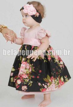 Vestidinho para criança floral com preto e rosa