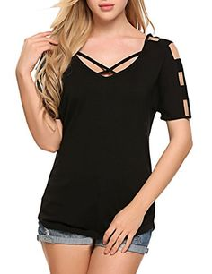7898598ef7955 Women s Casual Short Sleeve Criss Cross Front Cut Out Shoulder T-Shirt Tops  - Black - Clothing