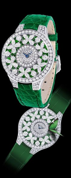 Diamond Watches Ideas : Graff Butterfly Watch - Watches Topia - Watches: Best Lists, Trends & the Latest Styles High Jewelry, Bling Jewelry, Mode Glamour, Fashion Accessories, Fashion Jewelry, Beautiful Watches, Diamond Are A Girls Best Friend, Eternity Bands, Shades Of Green