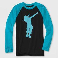 4088ead0 Boys' Fortnite Dabbing Long Sleeve Raglan Graphic T-Shirt - Black/Turquoise  L