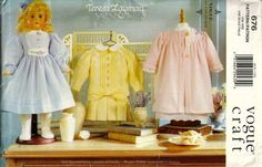 Items similar to Vogue 7038 676 Teresa Layman Old Fashioned Doll Clothes Pattern for 18 Inch Dolls Victorian Two Styles of Dress Nightgown and Robe UNCUT on Etsy Doll Shoe Patterns, Vogue Sewing Patterns, Vintage Sewing Patterns, Clothing Patterns, Dress Patterns, Pattern Dress, Sewing Ideas, Teresa, Girl Doll Clothes