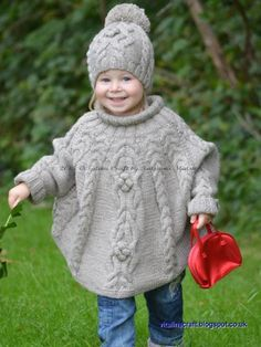 Knitting Pattern - Temptation Poncho and Hat Set (Toddler an.- Knitting Pattern – Temptation Poncho and Hat Set (Toddler and Child sizes) in English and French Knitting Pattern Temptation Poncho and Hat Set от ViTalinaCraft - Baby Knitting Patterns, Knitting For Kids, Crochet For Kids, Free Knitting, Crochet Baby, Knit Crochet, Knitting Needles, Poncho Patterns, Knitting Projects