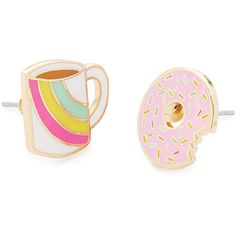 Coffee and Donut Earrings ❤ liked on Polyvore featuring jewelry, earrings, rainbow jewelry, coffee jewelry, earring jewelry and rainbow earrings