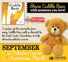The great thing about Usborne Books and More is that they give back to the community. To me, that is very important given the direction my life has taken lately. If you can, please reach out and support this great cause!  Cuddle Bear can be ordered from my website at https://z3035.myubam.com/ Let's put an end to Pediatric Cancer!