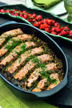 Lachs mit Oliven-Pistazien-Tapenade und Tomaten – low carb recipes marinade salmon salmon - New Site Salmon Recipes, Fish Recipes, Seafood Recipes, Tilapia Recipes, Dairy Free Recipes, Low Carb Recipes, Healthy Recipes, Tapenade, Pureed Food Recipes