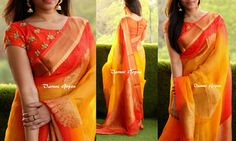 Beautiful yellow and orange color saree with designer blouse from Varuni Gopen. To purchase this sari drop an email to varunigopen@gmail.com / whatsapp 9849125889