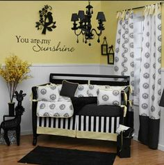 black and yellow baby room