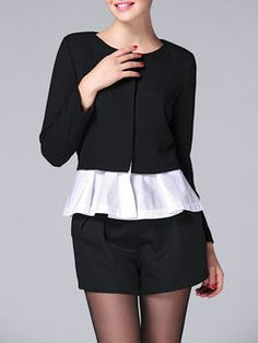 Paneled Long Sleeve Top with Shorts