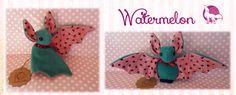 Watermelon Bat by Ishtar-Creations.deviantart.com on @DeviantArt  Made with a sewing pattern from www.beezeeart.com