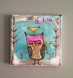 Owl with bird original mixed media painting by sunshinegirldesigns, $60.00