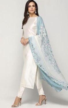 - White - Suits - Ladies Wear - Diya Online by fern Kurta Designs Women, Kurti Neck Designs, Kurti Designs Party Wear, Salwar Designs, Indian Attire, Indian Outfits, Ladies Suits Indian, Indian Wear, Pakistani Dress Design