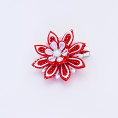 Christmas Hair Clip Kanzashi Hair Clip Girl Stuffers Red Flower Hair Clip Womens Christmas Christmas Hair Bow Holiday Hair Clip Red Kanzashi