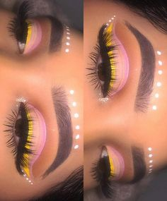 spring, pink and yellow cut crease festival makeup