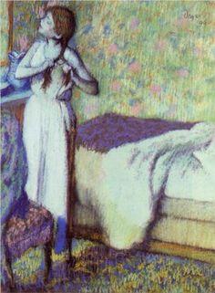 Young Girl Braiding Her Hair - Edgar Degas