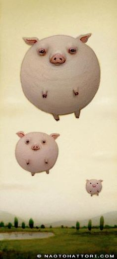 Balloon animal pigs take flight in this funny surrealism painting by Naoto Hattori