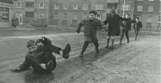 Children playing outside Kevin Street flats in Dublin, Ireland. 1970s Childhood, My Childhood Memories, Old Pictures, Old Photos, Ireland Pictures, Vintage Photos, Teenage Years, My Heritage, My Memory