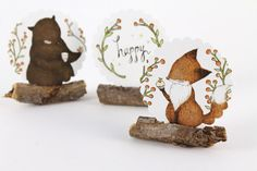 30 Stickers  Happy Bear Fox & Cupcake by whimsywhimsical on Etsy, $12.50
