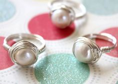 Fresh Water Pearl Wrapped in Sterling Silver Wire Ring