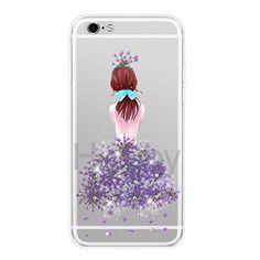 Joyroom Luxury Slim Transparent Beautiful Girl Flowers Rhinestone TPU Back Cover Shell Case for iPhone 6 6S - Purple