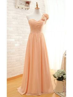 Lace-up One Shoulder Orange Chiffon with Flower(s) Sweep Train Bridesmaid Dress - dressesofgirl.com