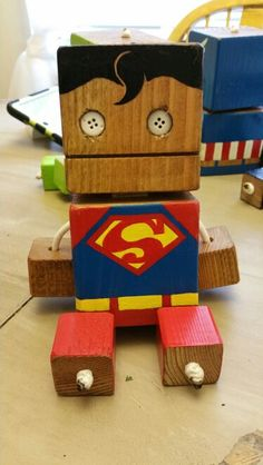 Superman - wood toy, natural wood, wood robot, DIY toy #woodtoy