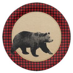 Buffalo Plaid Bear Rustic Cabin Paper Plate