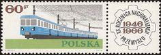 Stamp: Railroad train (Poland) (Nationalization of Polish Industry, Anniversary) Mi:PL 20th Anniversary, Locomotive, Postage Stamps, Transportation, Train, History, Europe, Album, Money