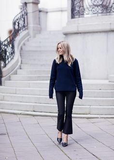 kick flare trousers, navy and black.