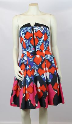 Peter Pilotto For Target Red Blue White Strapless Floral Jacquard Iris Dress 4 #PeterPilottoForTarget #FreeShipping #shopfashionhunters