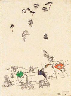 Egon Schiele, Houses and Pines, Mölding, 1915.