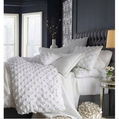 Textured white bedlinen