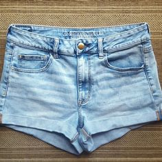 "American Eagle High Waisted Shorts Super comfortable shorts that are perfect for the summer! Gently loved & still in great shape! No major flaws. 16"" wide & 11"" long.  60% cotton 20% viscose 12% modal 7% polyester 1% elastane American Eagle Outfitters Shorts Jean Shorts"