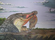 Deinosuchus by dewlap on DeviantArt Prehistoric Wildlife, Prehistoric Creatures, Jurassic World Dinosaurs, Jurassic Park World, Les Reptiles, Reptiles And Amphibians, Dinosaure Herbivore, Carnivore, Extinct Animals