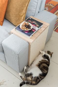 DIY - Cat Scratching Table: mesa de café y muebles para rascar al mismo tiempo - Katzen - Spiele und Beschäftigungsideen - Diy Furniture Table, Pet Furniture, Diy Table, Cat Scratch Furniture, Modern Cat Furniture, Furniture Stores, Wooden Furniture, Furniture Makeover, Furniture Design