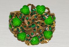 Stunning Huge Vintage Gold Tone Emerald Green by TreasuredGlitz